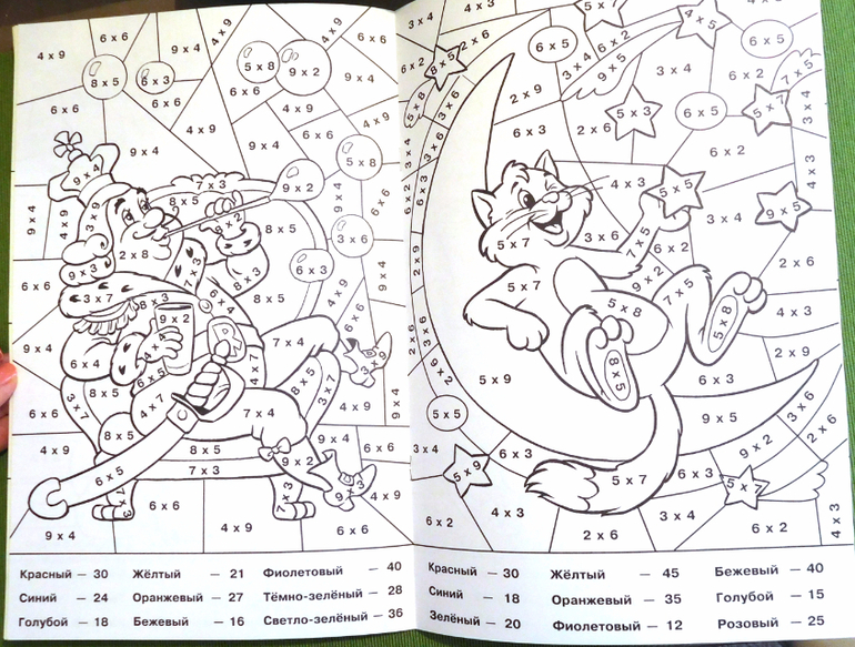 Раскраски при изучении таблицы умножения