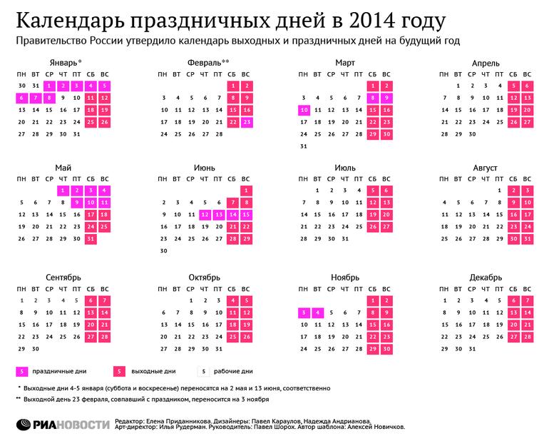 Календарные выходные 2014