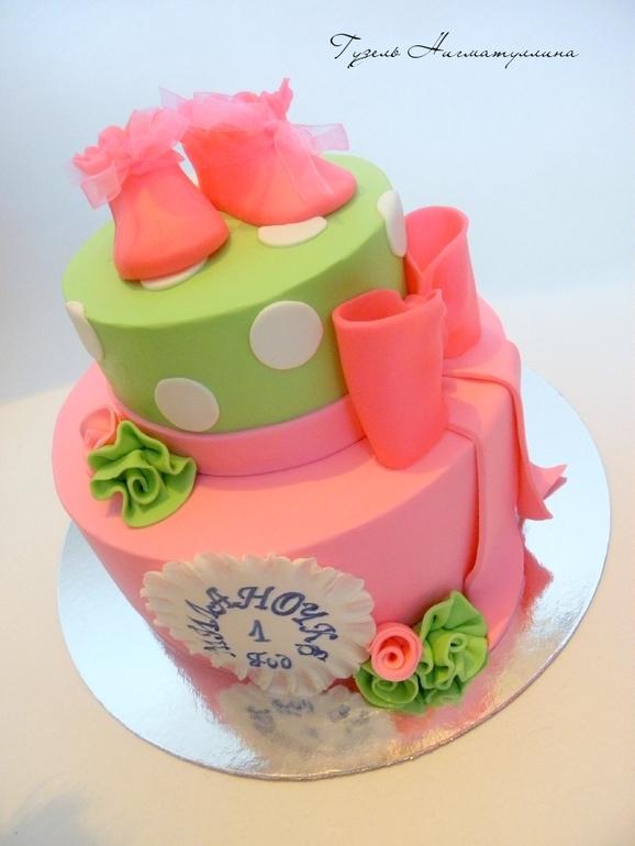 Торт розово-салатовый)