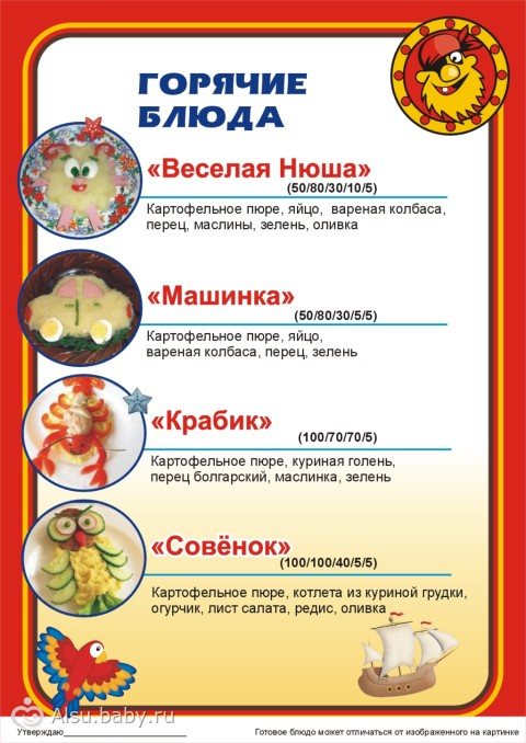 меню детского кафе в картинках