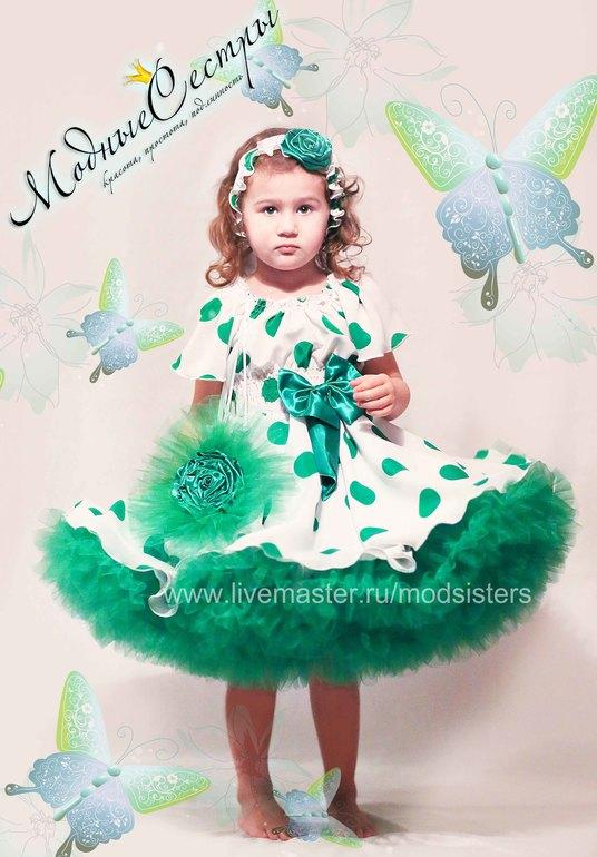 """Платье """"Белое зеленым горохом"""""""
