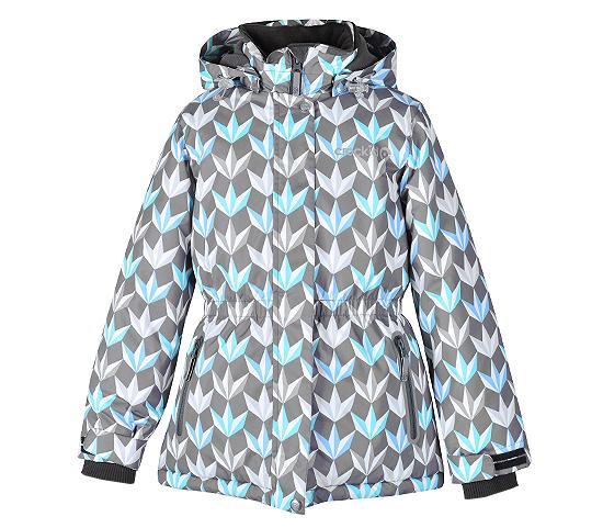 Новая зимняя приталенная куртка Крокид серый принт