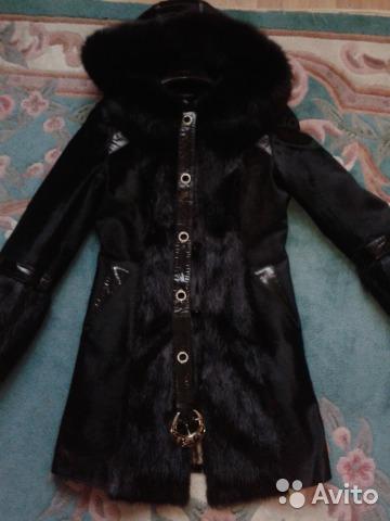 новое пальто из меха пони (42/44 размер )