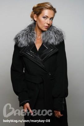 Стильное зимнее утепленное пальто с мехом