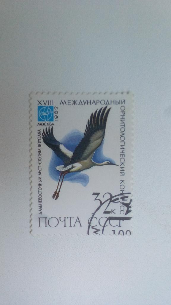 Марка 32к 1982 год СССР Дальневосточный Аист