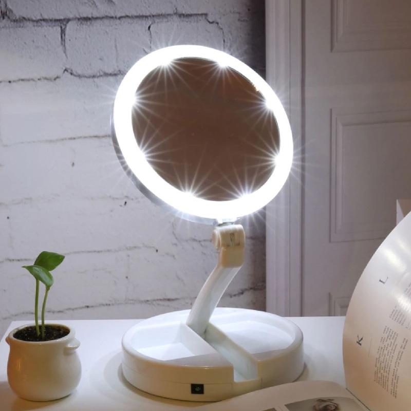 Складное зеркало с подсветкой и органайзером