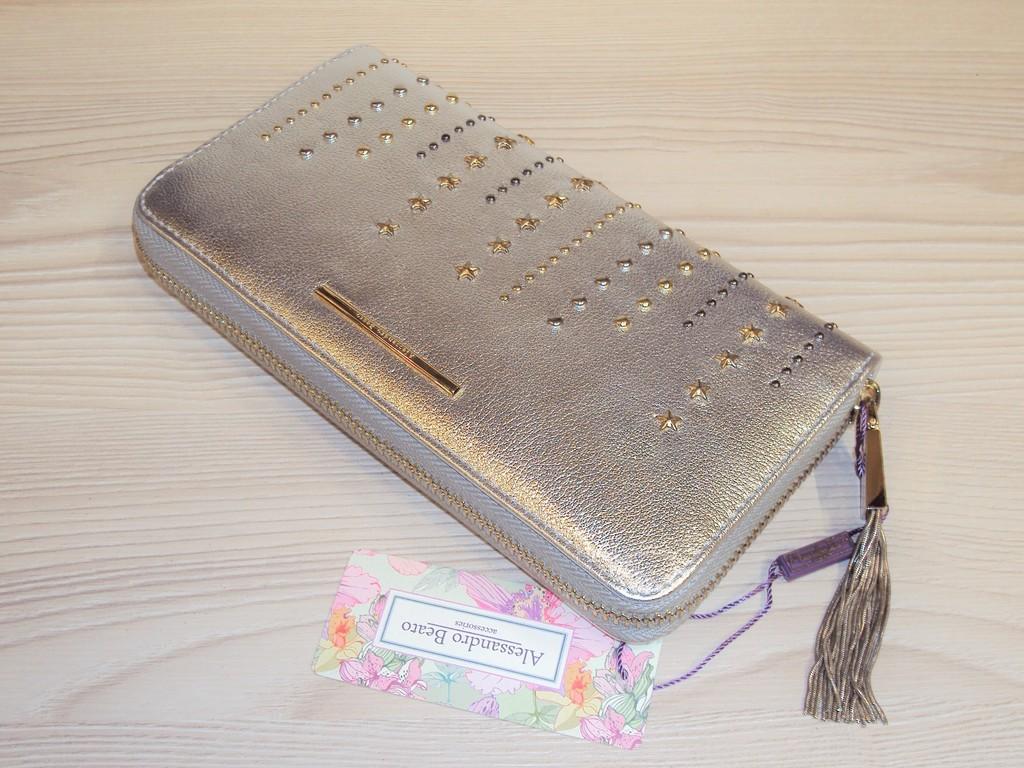 Новый серебристый кошелек Alessandro Beato