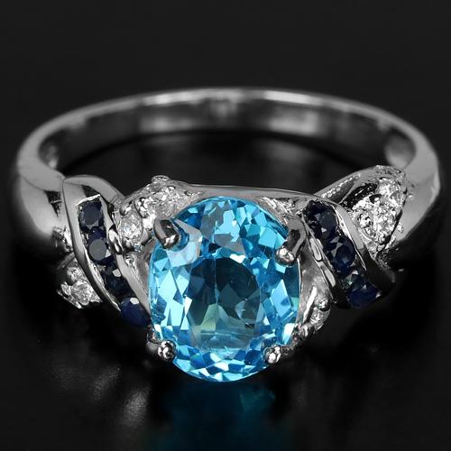 кольцо перстень серебро 925*+топаз,сапфиры,цирконы