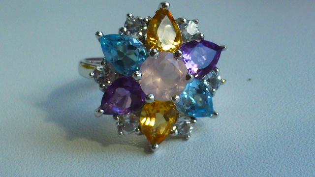 кольцо перстень серебро 925*, розовый кварц и др.