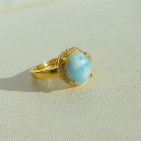 кольцо перстень серебро 925*+золото+ларимар+циркон