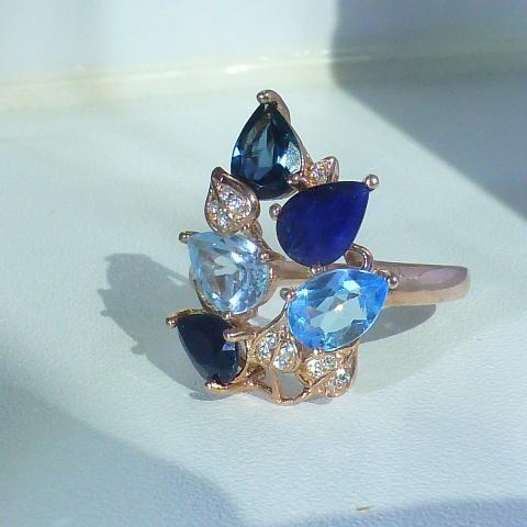 кольцо перстень серебро+золото+сапфиры+топазы+цк