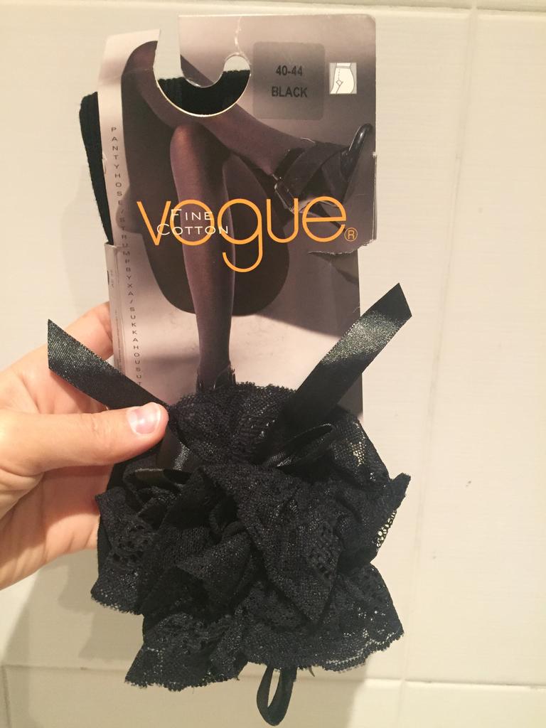 Чулки новые Vogue размер М 46 чёрные с кружевом оборка вязаные