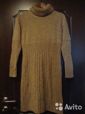 Теплое шерстяное женское платье с горлом 42-44р