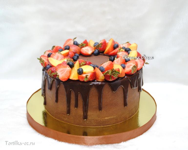 Украсить торт фруктами и шоколадом своими руками фото фото 886