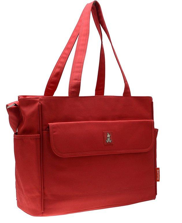ff88cb55df5b У сумки жесткое дно, прямоугольная форма, внутри одно отделение с  кармашками и отсеками, передний карман на липучке. Укомплектована  креплениями для коляски, ...