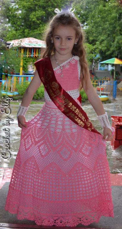 Платье на выпускной в садик крючком схема