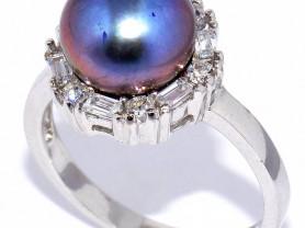 Кольцо Silver wings с жемчугом и куб.циркон 17,75