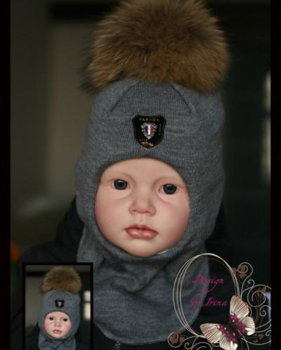 "Шлем для мальчика ""Фэшн""(сер)."