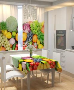 Фотошторы для кухни Аппетитные фрукты Габардин