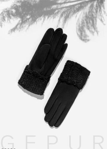 Перчатки с вязаной манжетой