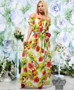 Принтованное платье рукав фонарик - 14511