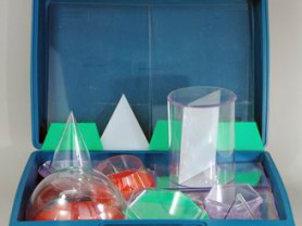 Набор объемных геометрич прозрачных тел с сечением