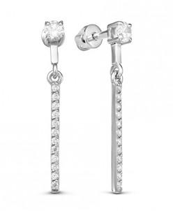 0205 Пусеты с фианитом родированные серебро 925*