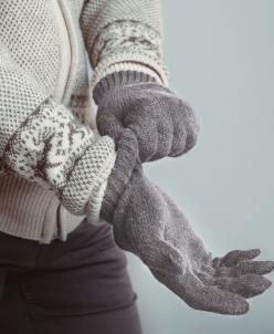 """Перчатки взрослые из шерсти """"Як"""" серый"""