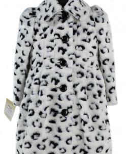 10-0277 Пальто детское демисезонное Искусственный мех Бело-ч