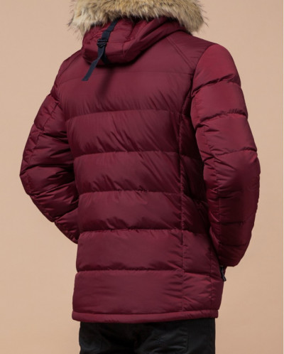 Бордово-черная куртка теплая с манжетами модель 42568