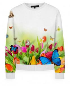 Свитшот женский Бабочки на цветах