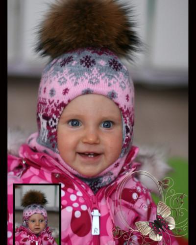"Шлемик для девочки ""Морозко""(серо-розовый)."