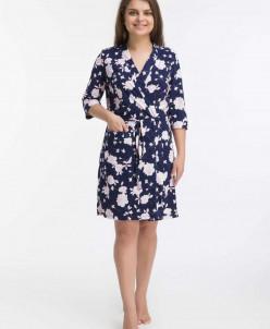 Комплект Влада (халат+сорочка) (3449). Расцветка: синий с ро