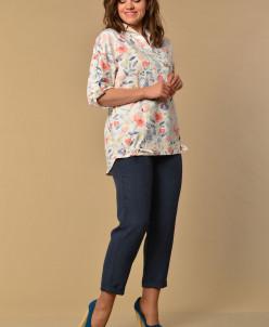 Костюм Lady Style Classic 2058/3 темно-синий+цветы