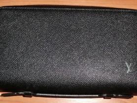 Сумка мужская борсетка черная кожаная 12х22х5 см