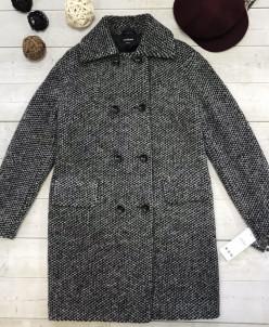 Двубортное пальто Бруклин, черно-серый. Арт. 464