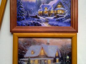 Картина, пейзаж с домом. Пасха, заяц