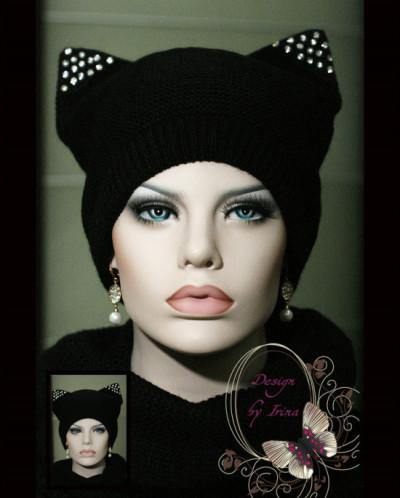 """Комплект шапка """"с ушками"""" +шарф-хомут(черная)."""