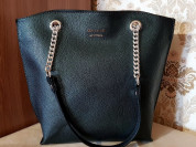Новая кожаная сумка на каркасе Италия зеленая