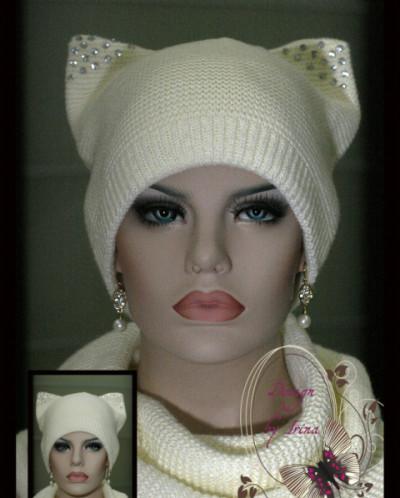 "Комплект шапка ""с ушками"" +шарф-хомут(молоко)."