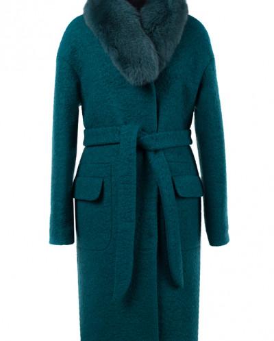 02-1600 Пальто женское утепленное (пояс) Букле Изумруд