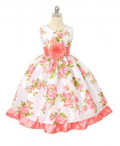 Нежное платье с цветами розовое 3-4