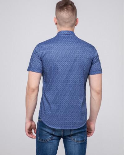Синяя молодежная рубашка Semco ультрамодная модель 20433 142