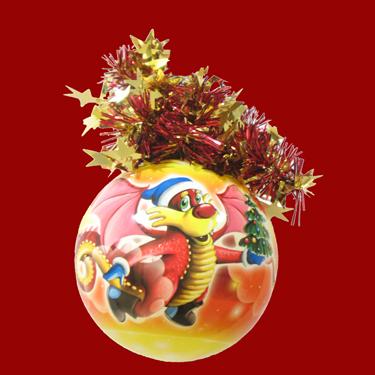 """Шар """"рождественский"""" (Дракончик с елкой), диаметр 95 мм, арт"""