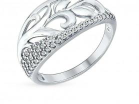 Серебряное кольцо с фианитами Sokolov, размер 16,5