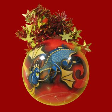 """Шар """"Рождественский"""" (Голубой Дракончик), диаметр 95мм, арт."""