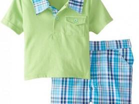Комплект из 2 предметов: поло зеленое и шорты