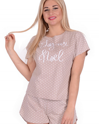 Женская пижама ЖП 015 (горох на бежевом)