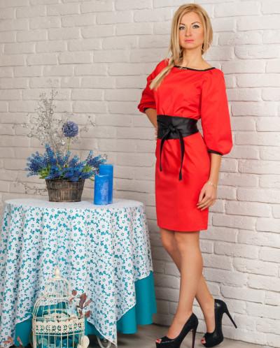 Платье № 844-красный