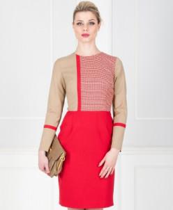 Платье красное с бежевым